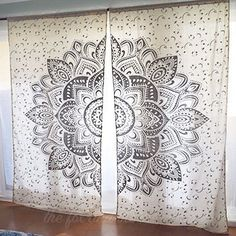 Silver or Gold Lotus Flower Mandala Tapestry Curtains