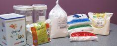 Farines sans gluten. Mélange sans maïs : Farine de riz complet 550g (55%) Farine de riz gluant 150g (15%) Farine de tapioca 180g (18%) Fécule de pomme de terre 120g (12%) Gomme guar ou xanthane 2 cc