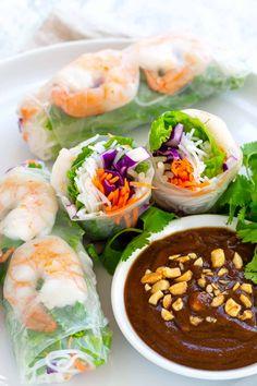 Shrimp Spring Rolls with Peanut Dipping Sauce - Jessica Gavin Healthy Crisps, Healthy Recipes, Asian Recipes, Cooking Recipes, Cooking Tips, Peanut Dipping Sauces, Peanut Sauce, Peanut Butter, Shrimp Recipes