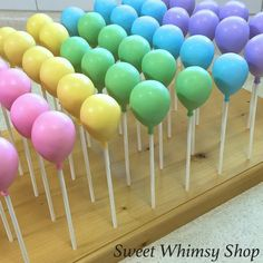 25 Balloon Cake Pops - pastel, primary colors, circus, carnival, first birthday, baby shower, rainbow, unicorn, confetti, pink, blue, party