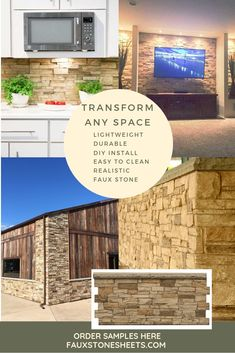 Most realistic Faux stone Faux Stone Walls, Stone Accent Walls, Paint Colors For Home, House Colors, Home Renovation, Home Remodeling, Bathroom Remodeling, Decoration, Interior Design Living Room