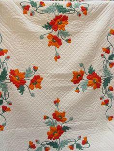 Antique Poppy Applique Quilt