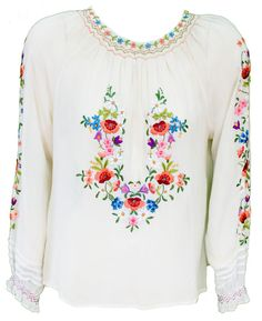 1930s Blouse Peasant Silk Embroidered White by TopangaHiddenT