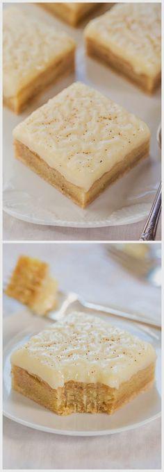 Arthur's Fav Food: Fudgy Eggnog Bars with Eggnog Glaze