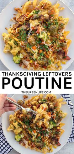 Best Thanksgiving Leftovers Recipes and Ideas! Make thanksgiving leftovers poutine with vegan turkey, stuffing, gravy, mashed potatoes, broccoli, carrots, brussels, and other sides. Fun and easy!