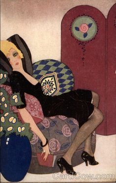 Woman Lounging on a Chair With a Book  Details:  Artist:Lorenzi