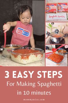 Enjoy preparing spaghetti with your kids in 10 minutes with Purefoods Slow-cooked Spaghetti Sauce w/ The #1 Tender Jucy Hotdog. #MommyNicz #PurefoodsSlowcookedSpaghettiSauce #TenderJuicyHotdog Great Recipes, Dinner Recipes, Healthy Recipes, Easy Recipes, How To Make Spaghetti, Making Spaghetti, Good Food, Yummy Food, Spaghetti Sauce