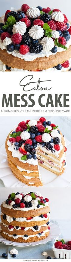 Mess Cake with crisp meringues, sweetened cream and fresh berries. A refreshing cake for spring and summer celebrations.Eaton Mess Cake with crisp meringues, sweetened cream and fresh berries. A refreshing cake for spring and summer celebrations. Sweet Recipes, Yummy Recipes, Dessert Recipes, Yummy Food, Summer Cake Recipes, Eton Mess Cake, Nake Cake, Classic Desserts, French Desserts