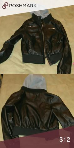 Faux leather jacket Winter jacket in great shape. Fits large but could fit a medium. No wear to it. Very nice with the hood Forever 21 Jackets & Coats