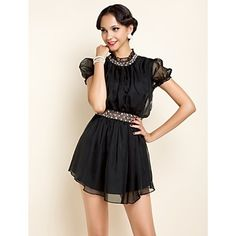TS Handmade Decor Stand Collar Dress – USD $ 36.39