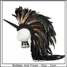 Tribal Unicorn Delux ... Unicorn Headdress with Feather Mohawk