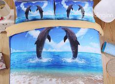 Vigorous #Dolphin #3D Printed 4-Piece Duvet Cover Sets #bedroom #bedding