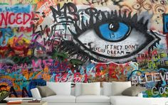 Huge 3D Graffiti Eyeswall Paper Wall Print Decal Wall Deco Indoor Wall Murals | eBay