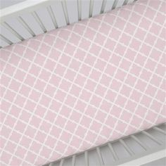 Crib Fitted Sheet in and Pink Lattice by Carousel Designs.