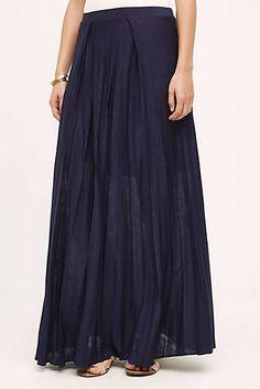 Pleated Knit Maxi Skirt