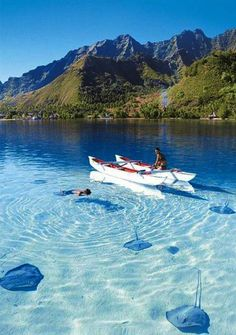 Bora Bora, French Polynesia in an outrigger canoe...bliss! #Beautiful #Places #Photography