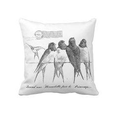 French Birds Throw Pillow