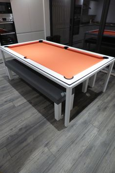 American Slimline Pool Dining Table with white frame and cushions and Simonis Orange cloth. Custom Pool Tables, Pool Table Dining Table, Ral Colours, Table Sizes, Table Dimensions, Wood Colors, Types Of Wood, Steel Frame, Man Cave