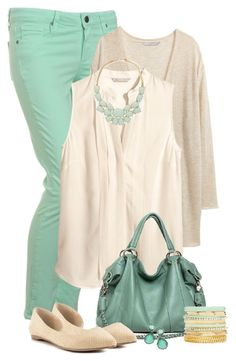 """""""Mint and beige"""" by mommygerloff ❤ liked on Polyvore featuring Paige Denim, H&M, 2b bebe, ALDO, Ippolita, women's clothing, women, female, woman and misses"""
