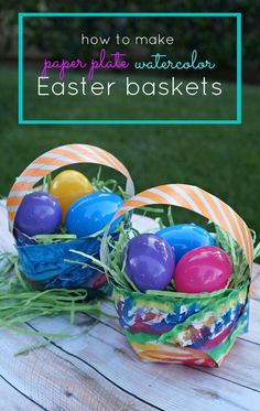 Easter crafts for kids Make your own paper plate watercolor Easter baskets