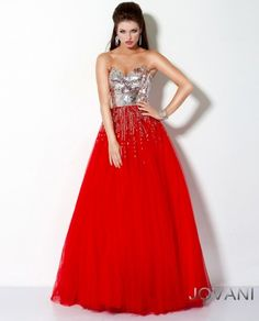 #Jovani style 159499 #JovaniFashions #dress #mirror #embellished #ballgown #silver #red Quinceañera
