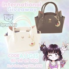 Good news to all my sweeties <3 1.Use code : Aug15 to get 15$ off on 100$ for your order till Aug 7th, 2016. 2.New giveaway for Sailor Moon Hand Bag is running .  How to win: 1. Follow @spreepicky 2. Like and Repin this pic  3. Finish above and enter here: https://goo.gl/hnNhNV 4.Ends on Aug 7th, 2016  Good luck everyone <33