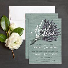 Lavender Barn Wood Wedding Invitations by Emily Crawford | Elli