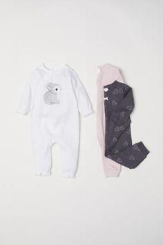 3-pack bomullspyjamas - Vit/Kanin - BARN | H&M SE 1