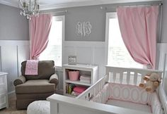 Nursery idea- Do the grey and white until baby is born and add pops of color once born. pink for girl or teal for boy. Black and white and grey bedding. or grey and white room with pops of YELLOW! Gender neutral and super cute. Girl Nursery, Girl Room, White Nursery, Nursery Room, Nursery Decor, Royal Nursery, Babies Nursery, Child Room, Pink Grey