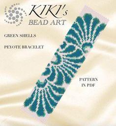 Pattern, peyote bracelet - Green shells peyote bracelet cuff pattern in PDF instant download