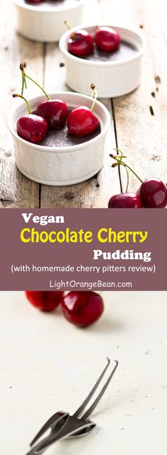 Do you like the red, sweet, and slightly tangy fresh cherry but don't have an easy way to pit the cherries? In this post you will find four different ways to pit cherries using homemade cherry pitter alternatives and vegan chocolate cherry pudding recipe.
