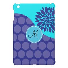 Custom Monogram Initial Teal Purple Polka Dots iPad Mini Covers