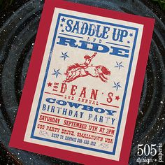 western font on cowboy birthday party invitation