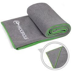 PROCIRCLE Yoga Towel - Green - Microfiber Hot Yoga Towel, Bikram Yoga Towel, Ashtanga Yoga Towel - Super Absorbent, Non Slip, Machine Washable, Fast Drying - Free Carry Case * Visit the image link more details.  This link participates in Amazon Service LLC Associates Program, a program designed to let participant earn advertising fees by advertising and linking to Amazon.com.