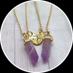 Friendship necklaces for people with a ~magical~ connection. This is available in 21 different gemstones! 23 Witchy AF Products You'll Want To Buy ASAP Bestfriend Necklaces For 2, Bff Necklaces, Best Friend Necklaces, Best Friend Jewelry, Cute Necklace, Necklace Chain, Best Friend Outfits, Best Friend Gifts, Gifts For Friends