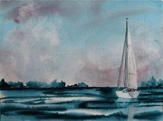 Watercolor sailboat seascape / Lost Weekend / original by DreamON