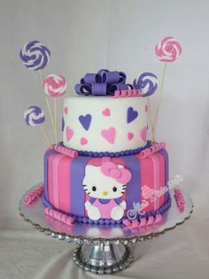 Pink and purple hello kitty cake birthday girl. Cute, but no name, age or anything? Hello Kitty Torte, Bolo Da Hello Kitty, Hello Kitty Birthday Cake, 13 Birthday, Birthday Ideas, Pretty Cakes, Cute Cakes, Hello Kitty Themes, Girl Cakes
