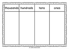 {FREE} Place Value Mats end of 2nd, review 3rd grade