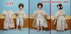 half inc scale porcelain custom doll, (dress made of antique valencienne lace.)