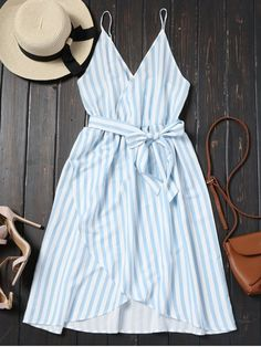 Shop for Belted Striped Cami Dress CHARM: Casual Dresses S at ZAFUL. Only $18.99 and free shipping!