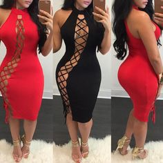 Lace Up Slim Fit Bodycon Dress