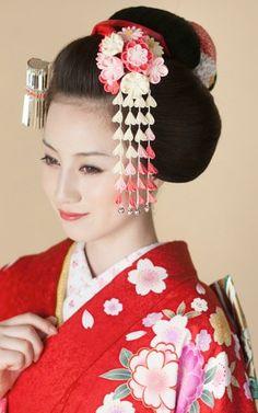 oharibako | Rakuten Global Market: はなころもかんざし Japanese Beauty, Asian Beauty, Japanese Geisha, Pretty Hairstyles, Wedding Hairstyles, Asian Hair Pin, Geisha Hair, Kimono Japan, Japanese Hairstyle