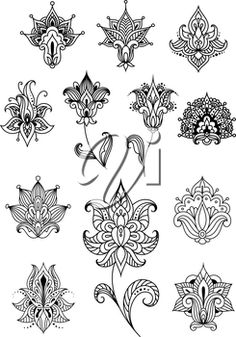Paisley outline flowers with sagittate petals and curved leaves decorated with traditional indian ornaments for lace embellishment or vintage design