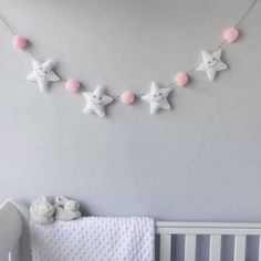 Star Garland With Honeycomb Pom Poms A cute baby room decoration of padded stars and pom poms.The pom poms are available in various colours: black,. Baby Bedroom, Baby Room Decor, Nursery Room, Girl Nursery, Girl Room, Nursery Decor, Nursery Grey, White Bedroom, Child's Room