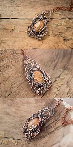 Wire wrapped pendant with jasper Copper pendant by TMWireWrap