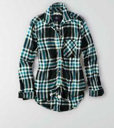 AEO Boyfriend Plaid Button Down Shirt