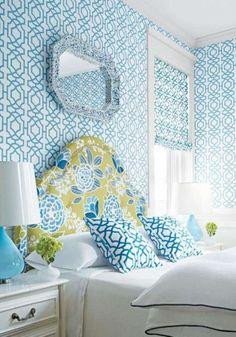 ithal duvar kağıdı mavi fayans desenli modeli