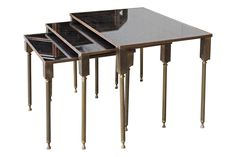 Brass And Mirrored Glass Nesting Tables