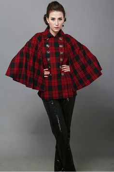 Cotton Fabric Coat With Batwing Sleeve
