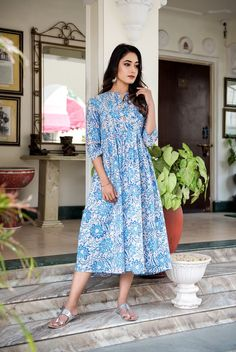 Shop latest in ethnic fusion wear with all handcrafted apparels. Day Dresses, Casual Dresses, Dresses For Work, Summer Dresses, Casual Frocks, Blue Block, Kurti Collection, Saree Dress, Blue Fashion
